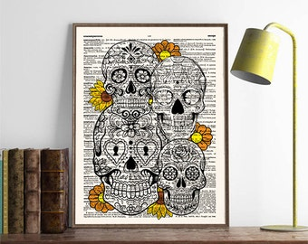 Sugar Skulls, Human Skull Wall Art, Vintage Skull, Skull Flowers,Day of the Dead, Dia de los Muertos, Gothic, Dorm Room, Wall Art Print, 421