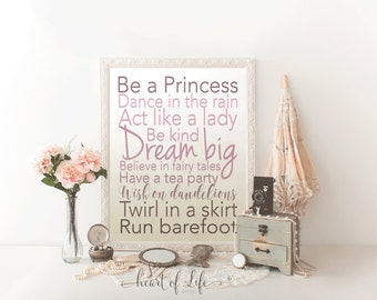 Printable art, Girl nursery quote wall decor, My wish for you sign, Princess quote, Dream big art print, Purple nursery art print wall decor