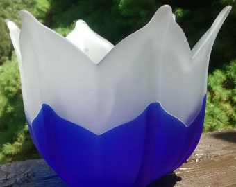Large Frosted Cobalt Blue Tulip Partylite Candle Holder Flower Bowl
