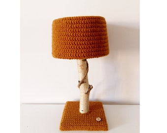 Lamp with birch tree branch and crochet lampshade - unique eye catcher for natural interior - autumn color table lamp