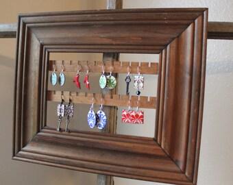 Wall Hanging Earring Organizer   Wall Jewelry Organizer   Wall Mount Jewelry Organizer   Hanging Earring Holder   Wood Frame Earring Hanger