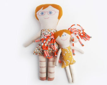 Mom and Daughter, Rag Doll, Family Dolls, Gift for Daughter, Stuffed Cloth Doll in Glasses, Gift for Girl, Handmade Dolls, Retro Rag Dolls