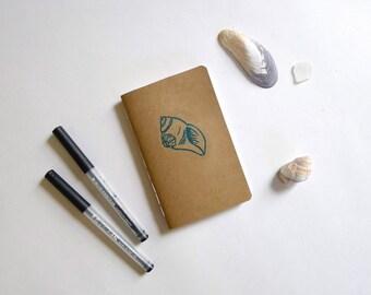 Shell Jotter Notebook / Nautical Pocket Journal / Plain or Graph Paper