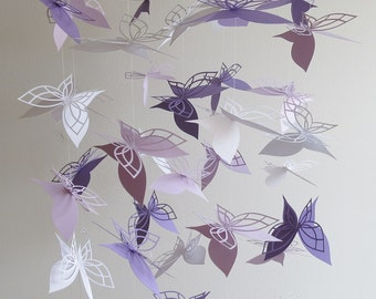 Lavender Butterfly Mobile-purple mobile, butterfly mobile, home decor, hanging mobile, baby mobile, kids,nursery mobile ,purple and white