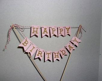 Pink and Gold Happy Birthday Cake Topper, Happy Birthday Cake Topper, Cake Topper Party Decoration, Birthday