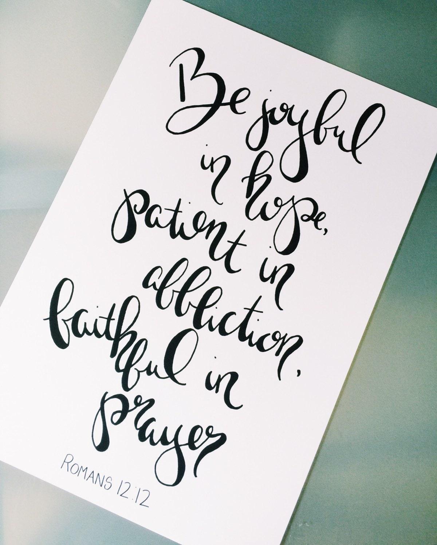 Be joyful in hope modern calligraphy art print