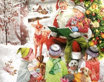 Set of 2 pcs 3-ply Santa Claus paper napkins for Decoupage or collectibles 33x33cm, Christmas napkins, Holiday napkins