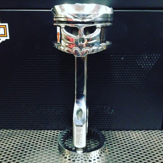 Hand carved piston skull repurposed engine parts trophy