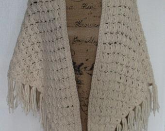 Woman's Ivory Crocheted Triangle Shawl Wrap ~ Fringed ~ One Size