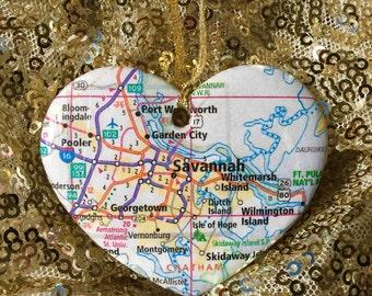 Savannah Map Ornament