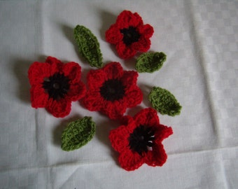 4 flowers poppies, 4 leaves to the hook, applied, handmade