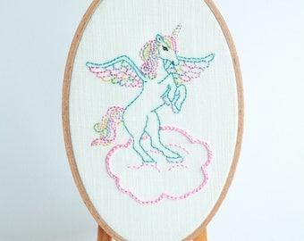 Unicorn Wall Decor Oval Shape Embroidery Hoop Wall Hanger Hand Stitched Whimsical Unicorn Nursery Decor Gallery Wall Art