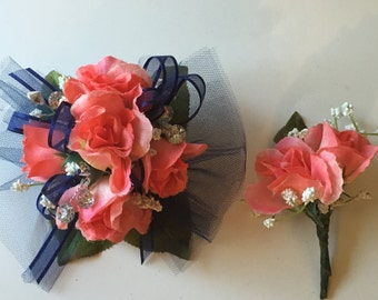 Coral Wrist Corsage, Prom Corsage, Formal Corsage, Navy And Coral Corsage, Homecoming Corsage