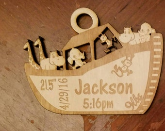 Noahs Ark christmas Ornament personalized baby ornament newborn ornament animal ornament babys first christmas baby keepsake baby shower