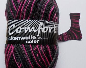 sock yarn, black-pink, 4ply (216.05)