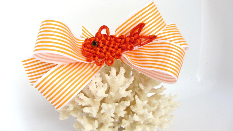 Goldfish hair bow orange chinese knotting koi fish good luck for Koi fish good luck