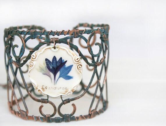 Artisan Cuffs. Handcuffs. Hand Forged Copper Cuff Bracelets. Real Flower Bracelets. Adjustable Bracelet. Copper Cuffs