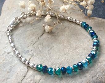 Sterling silver beaded bracelet, ocean blue crystals, silver stacking bracelet