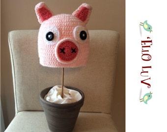 Crochet Classic Pink Pig Hat