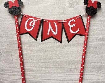 Minnie Mouse Red and Black Cake Topper Banner Cake Topper Birthday Party Decor Cake Decorations Minnie Mouse Baby Red Birthday Cake Straw