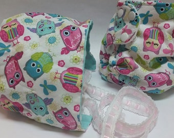 Matching Pocket Diaper and Reversible Baby Bonnet