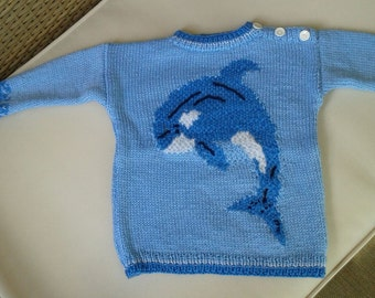 Dolphin sweater handknitting by me for baby, toddler and children