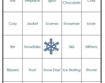 Winter Bingo Cards (digital file) 40 Cards