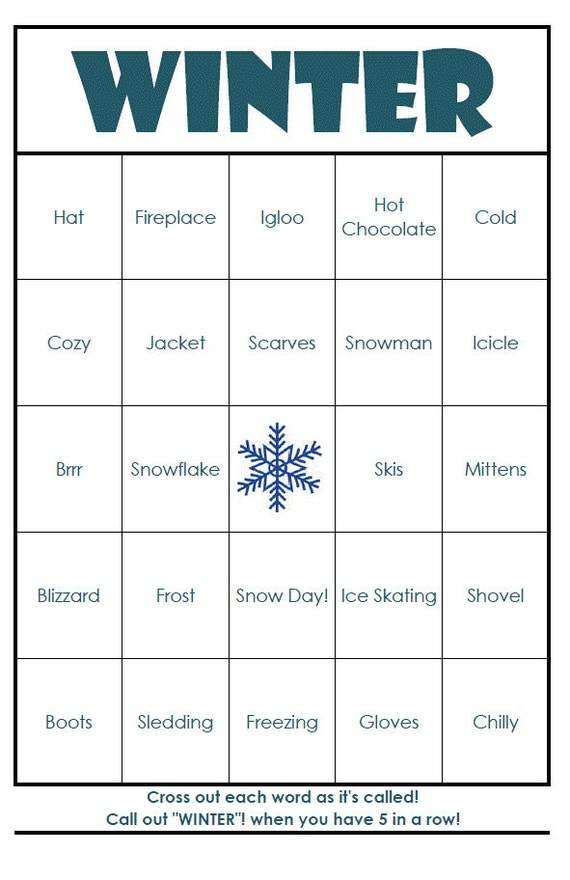 It is a picture of Old Fashioned Winter Bingo Cards Free Printable