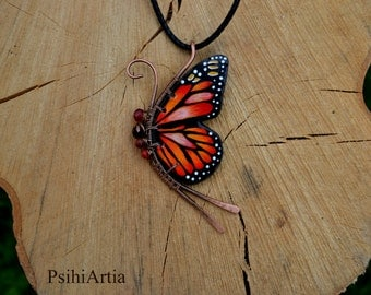 Butterfly necklace Butterfly jewelry Polymer clay butterfly Wire wrapped necklace Copper wire jewelry Colorful jewelry Polymer clay necklace