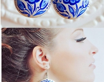 wedding earrings Blue and white wedding gift for women Gift Idea for her boho jewelry handmade jewelry blue white Jewelry bridal earrings