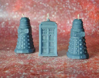 Doctor Who Candles - Tardis and Two Daleks