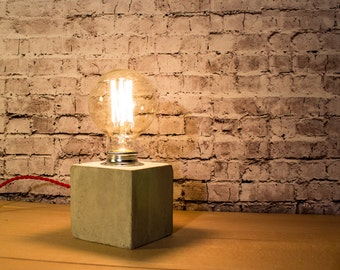 Industrial concrete table lamp, Industrial lamp, Concrete Desk lamp, Edison lamp, Concrete light, Edison bulb, Lighting, Concrete cube IV