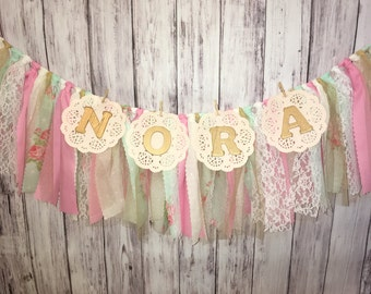Personalized Fabric Banner // Shabby Chic Fabric Banner // Vintage Nursery Banner // Nursery Banner // Baby Shower Banner // Bridal Shower