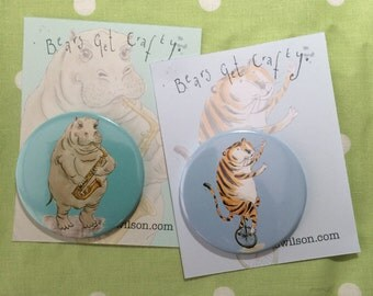 Unicycling Tiger or Saxophonist Hippo Fridge Magnets
