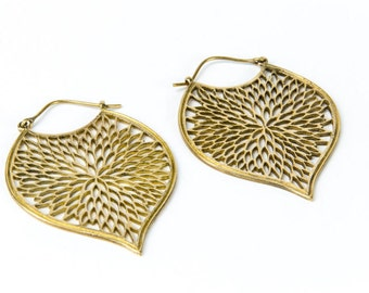 Brass Tribal Earrings with clasp handmade, Brass,Hoop Earrings , Gypsy Earrings, Gift boxed, Free UK post BG11