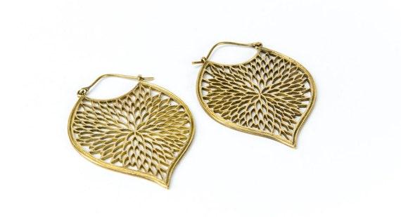 Brass Tribal Earrings with clasp handmade, Brass,Hoop Earrings , Gypsy Earrings, Gift boxed, Free UK post BG11