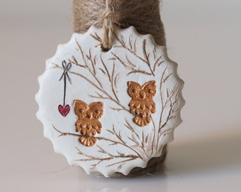 Clay owl decoration - Owl home decor - Handmade owl - Rustic Christmas decoration - Hanging owl art -Clay owl ornament -Winter wedding favor