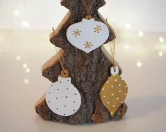 Christmas decorations set of 3 - Christmas tree ornaments - Gold Christmas - White Christmas - Modern Christmas decor - Christmas baubles
