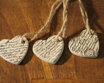 Vintage wedding favors - Set 3 clay wedding favours - Calligraphy decor - Valentines gift - Christmas ornaments - Clay heart decorations