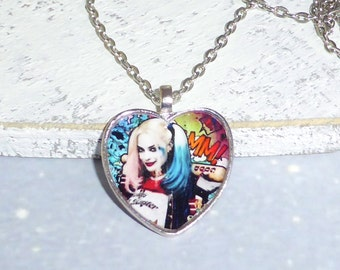 Harley Quinn Puddin DC Suicide Squad Necklace ~ Silver Long Chain Glass Dome Pendant Cosplay Costume Jewelry Jewellery