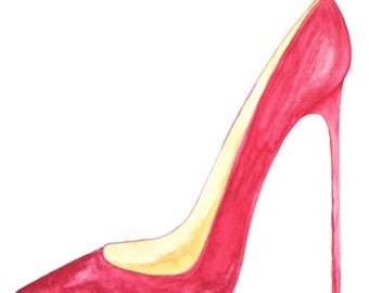 Watercolour Pointed Toe Stiletto Shoe Painting in Red