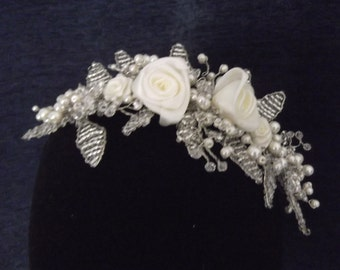 Roses Pearl and Crystal Bead Woven Headpiece, available in white or ivory