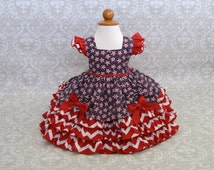 FREE SHIPPING! Girls 4th of July Dress, Patriotic Dress, Pageant Dress, Red White and Blue Dress, Patriotic Pageant Wear, 2T Ready to Ship