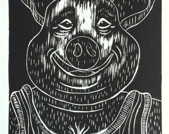 Graphic print, black and white, art, ink, Pig - Animal Farm - Farmer, Pig series, Linocut, Fine art print, Relief print, limited edition