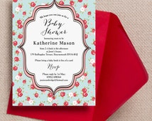 Personalised Vintage Rose Baby Shower Invitation Cards or Magnets