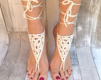 Barefoot sandals, crochet sandals, hippy ,cream ivory hippie, barefoot, yoga shoes, hula hooping,festival, cotton, vegan,beach sandals