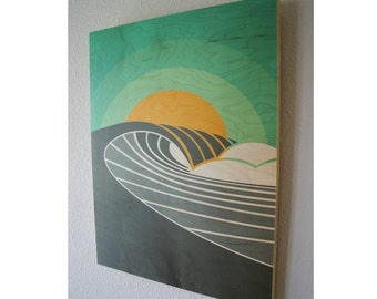 POINT BREAK (Sunrise) | Surf Art | Wood wall prints