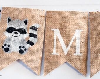 Raccoon Banner, Raccon Personalized Banner, Personalized Name Banner, Nursery Decor, Raccoon Name Banner, Woodland Animal Banner, B227