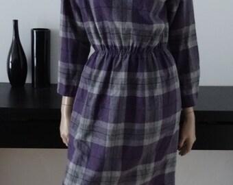 Robe 80s vintage carreaux gris/violet taille 38 - size uk 10 - us 6