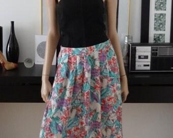 Jupe midi vintage LYKETTES USA fleurs taille 40/Vtg skirt/size 12/us 8